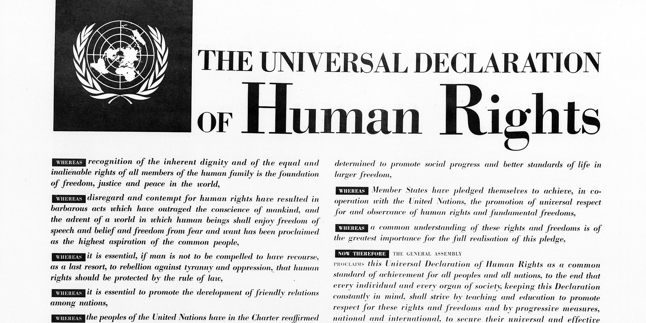 Billedet af den oprindelige tekst for menneskerettigheter. Foto: UN Photo