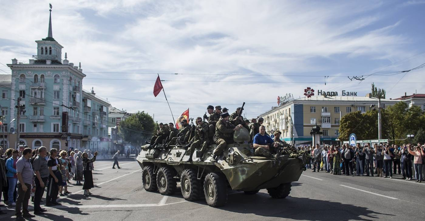 Prorussiske oprørere øst i Ukrainei2014. Foto: NTB Scanpix/Reuters/Marko Djurica.