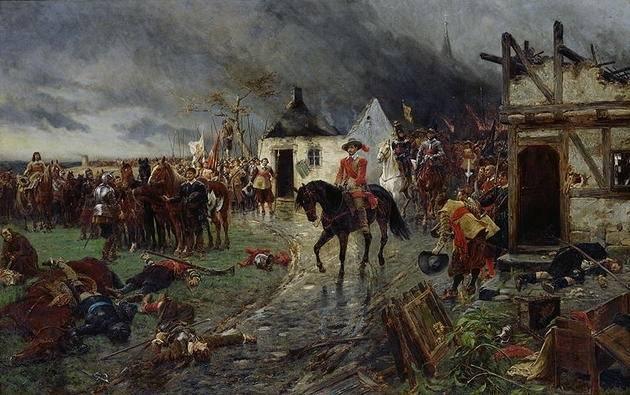 Fredsaftalerne efter 30-årskrigen(1618-1648) regnes som starten på moderne folkeretog begyndelsen på princippet om statssuverænitet. Maleri av Ernest Croft.