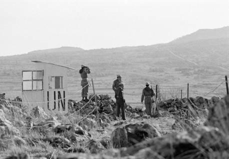 Iranske FN-soldater holder vagt ved Golanhøjderne i 1975