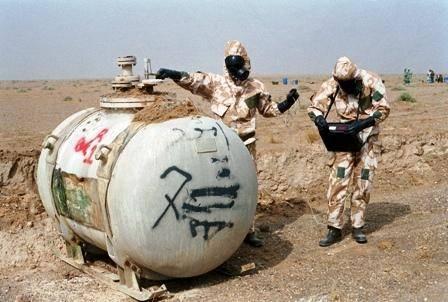En inspektionsgruppe fra FN fuldfører en detaljeret inspektion af Iraks største anlæg til kemiske våben i 1991