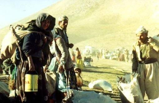 Kurdere på flugt fra den folkemorderiske Anfal-kampagnen