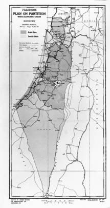 FN's delingsplan fra 1947, som aldrig blev en realitet. Det mørkeste område skulle tilhøre palæstinenserne og det lyse område, jøderne. UN Photo