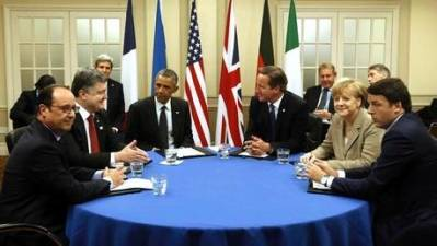Ukraines præsident i møde med de vestlige ledere