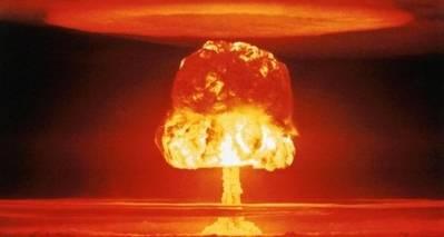 En prøvesprængning af en atombombe