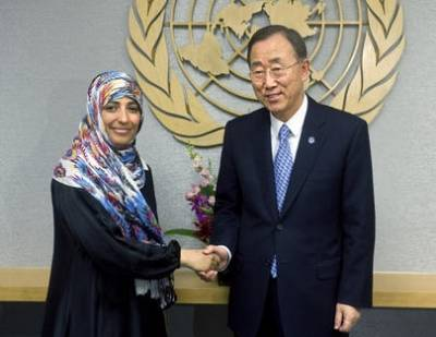 Tawakkul Karman blev tildelt Nobels Fredspris i 2011. Foto: Eskinder Debebe / UN.