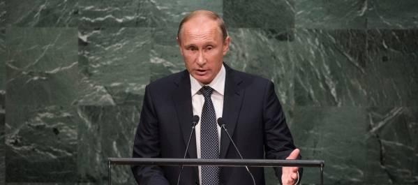 Ruslands præsident, Vladimir Putin, taler her i FN's generalforsamling. Foto: UN Photo/Cia Pak.