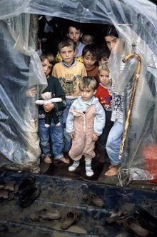 Etniske albanere i en flygtninge lejr