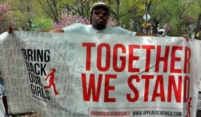 Flere hundrede demonstrerede på Union Square i New York City 3. maj 2014. Demonstranterne krævede løsladelse af de ca. 230 skolepiger, som blev bortført af Boko Haram. Foto: Flickr/Michael Fleshman