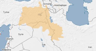 Det orange felt markerer området, hvor der bor mange kurdere - ofte kaldet Kurdistan. Kilde: Globalis