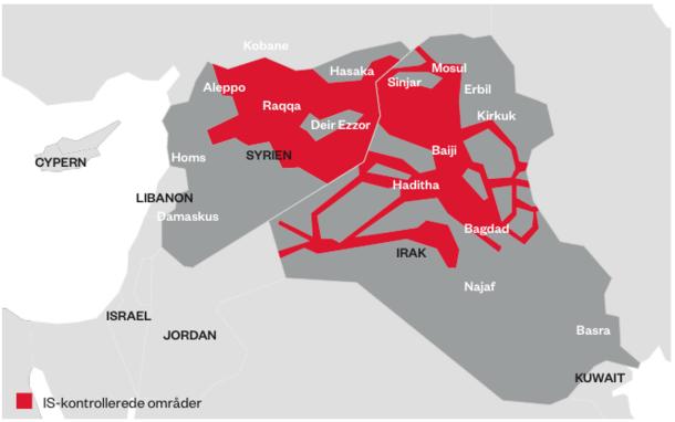 Områder under IS-kontrol
